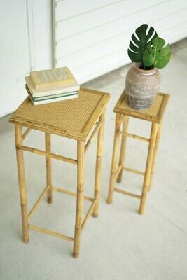 Set of 2 Nesting Bamboo Pedestals