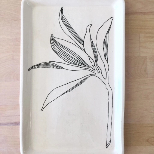 Squared Ceramic Hand Carved Tray