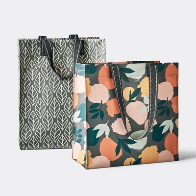 Reusable Tote- Gray Leaf