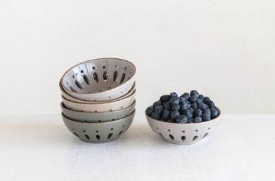"5"" Round Neutral Stoneware Berry Bowl"