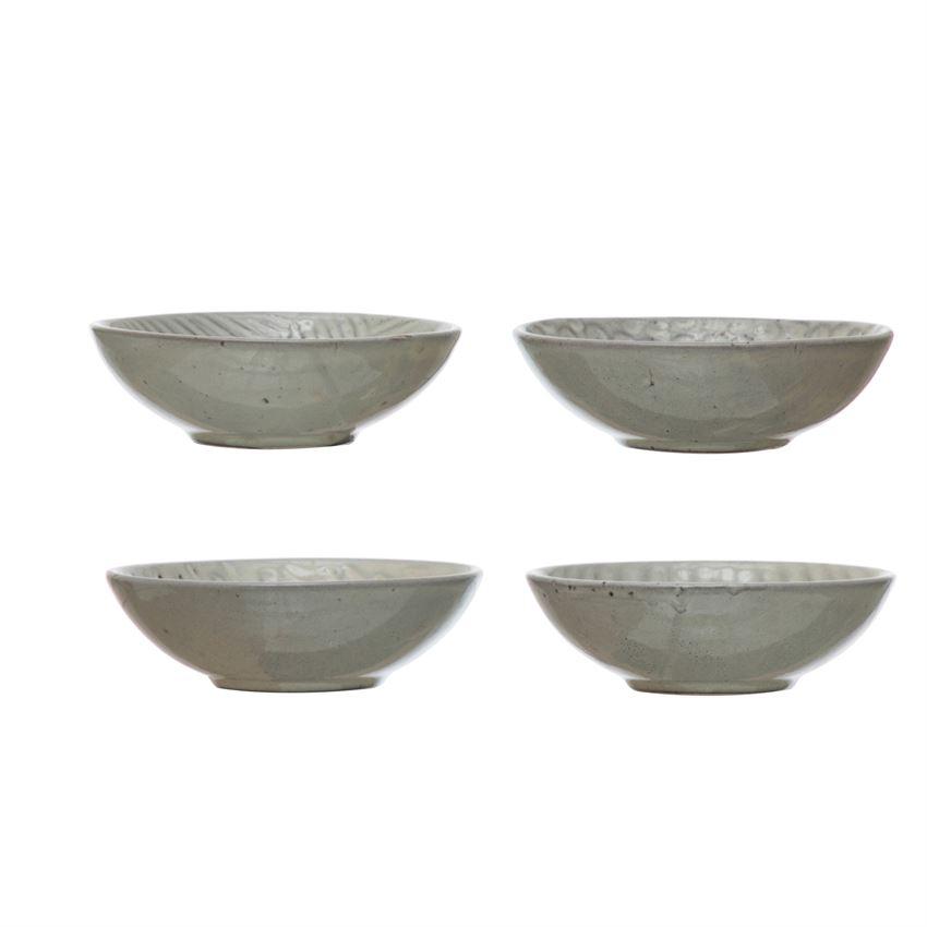 "4.5"" Round Stoneware Gray Dipping Bowl"