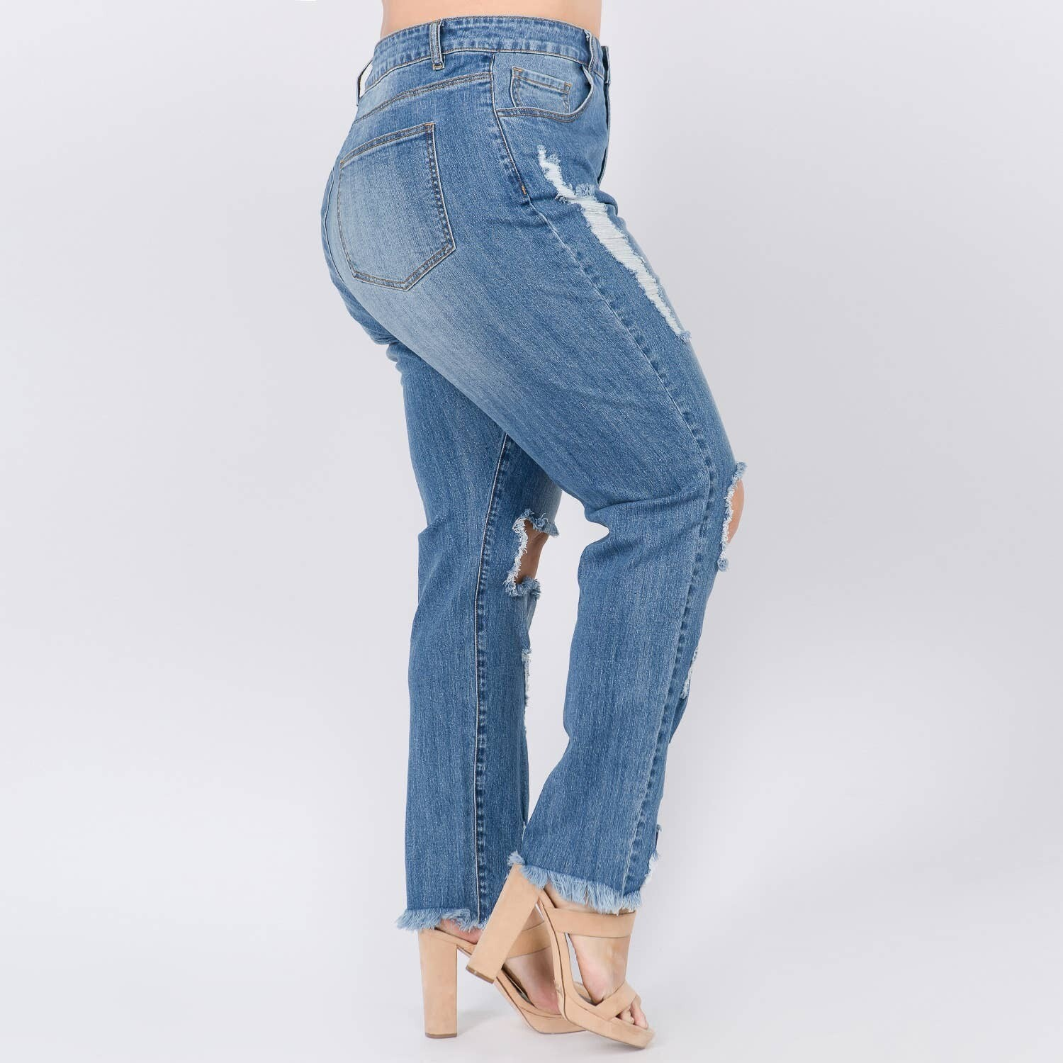 Plus Size High Waisted Distressed Skinny Jean