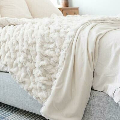 Flax Ruched Minky XL Throw
