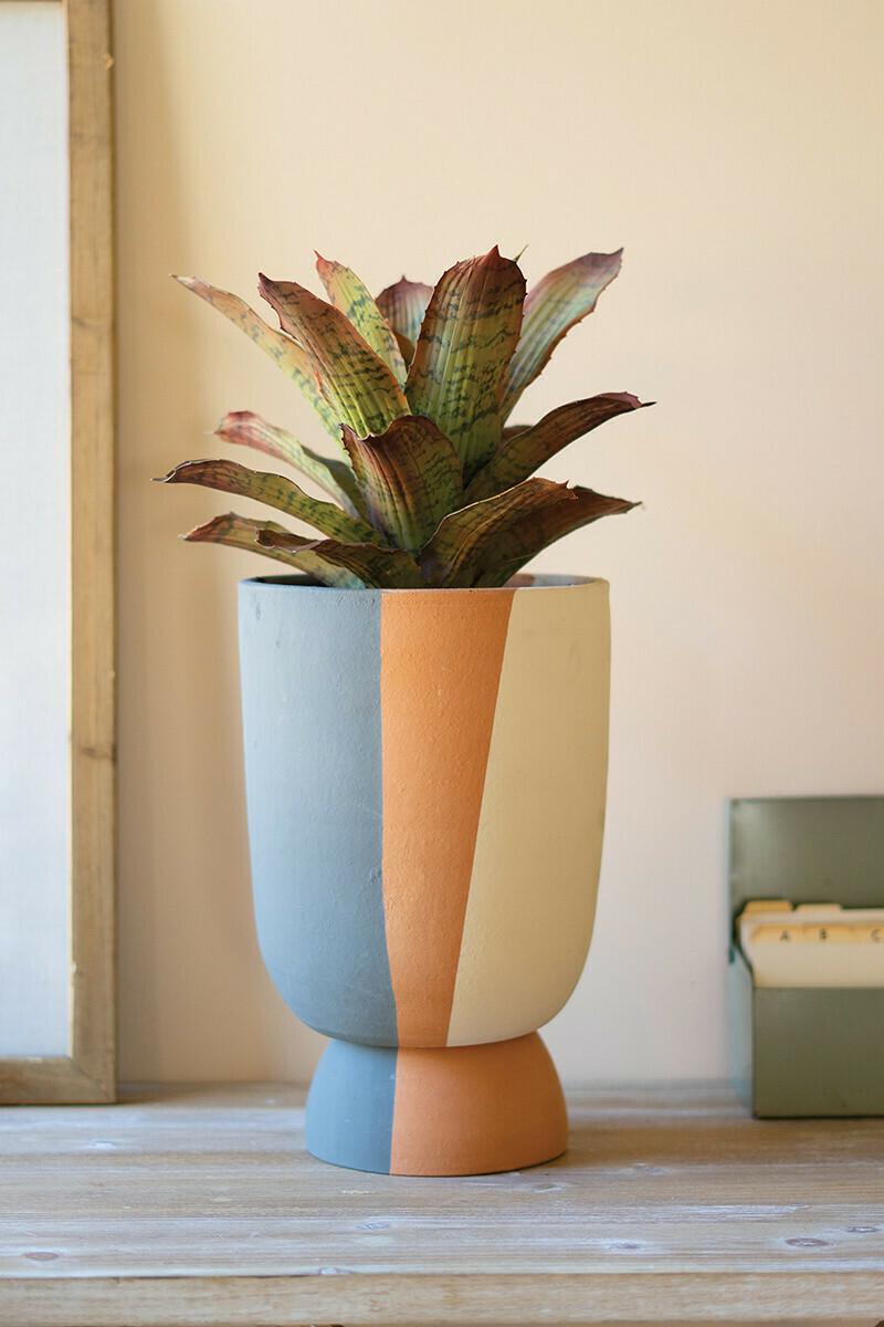 Triple Stripe Clay Planter