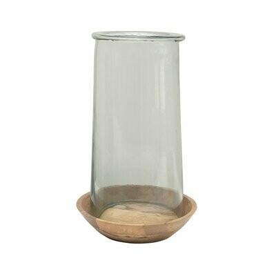 Glass & Wood Hurricane Lg