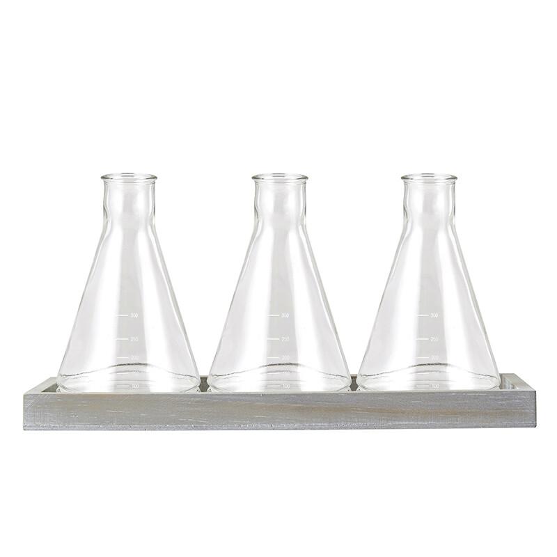 Glass Beaker Vase set of 3