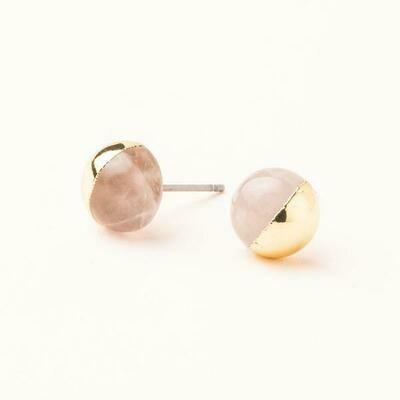 Dipped Stone Stud- Rose Quartz/Gold