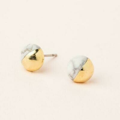Dipped Stone Stud- Howlite/Gold