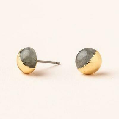 Dipped Stone Stud- Labradorite/Gold