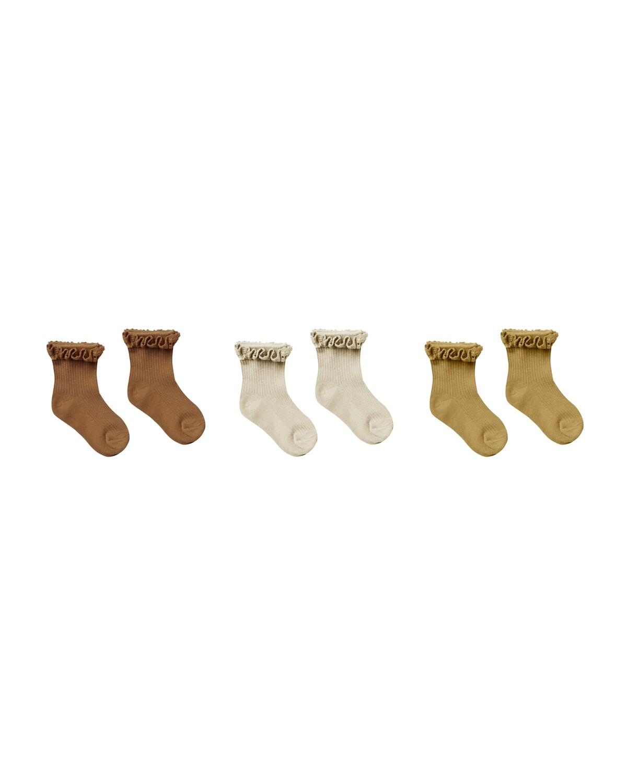 Ruffle Socks Pack of 3 Rust-Stone-Gold
