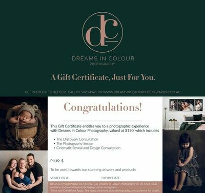 Custom Value: Dreams In Colour Photography 'Session' Gift Certificate. Plus $185 Value