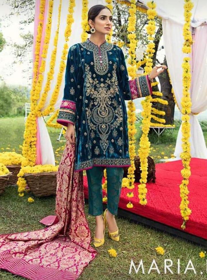 MARIA B VELVET EMBROIDERED DRESS