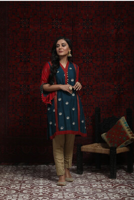 TORQUISE BLUE AND RED FORMAL KURTA