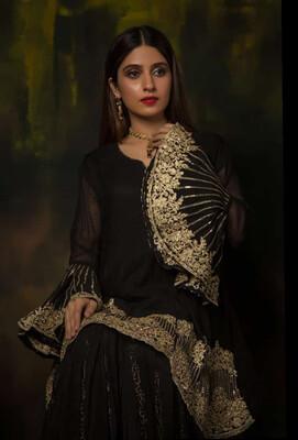 BLACK AND GOLD BANARSI THREE PIECE DRESSES