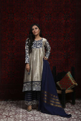 METALLIC BEIGE AND BLUE BANARSI DRESS