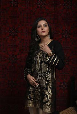 Black and gold formal kurta viscose Jaquard