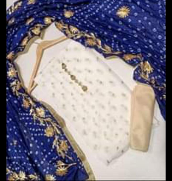 3rd feb chiffon embroidered shirt with neckline and chiffon dopatta