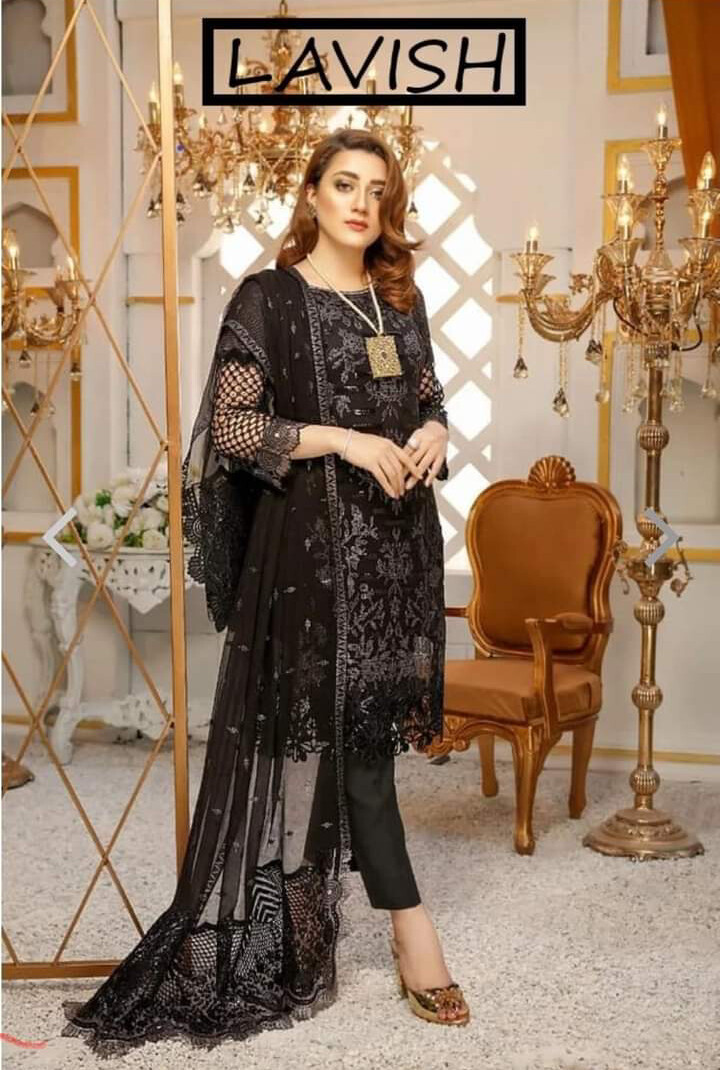 LAVISH PURE BAMBER CHIFFON SEQUENCE EMBROIDERED PARTY WEAR
