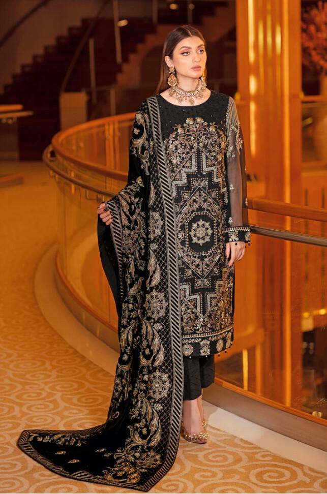 CHIFFON DRESSES WITH VELVET SHAWLS