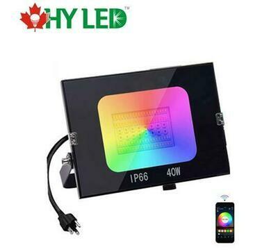 LED FLOOD LIGHT 40W RGB+CCT 120DE +PLUG-HY GEL
