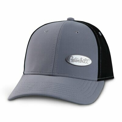 Peterbilt Grey and Black Metal Emblem Hat