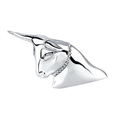 Chrome Longhorn Bull Ornament