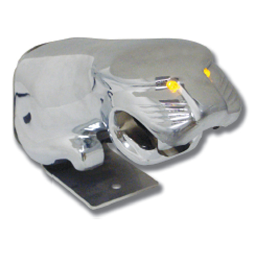 Chrome Aluminum Hood Ornament - Truckat with LED Eyes
