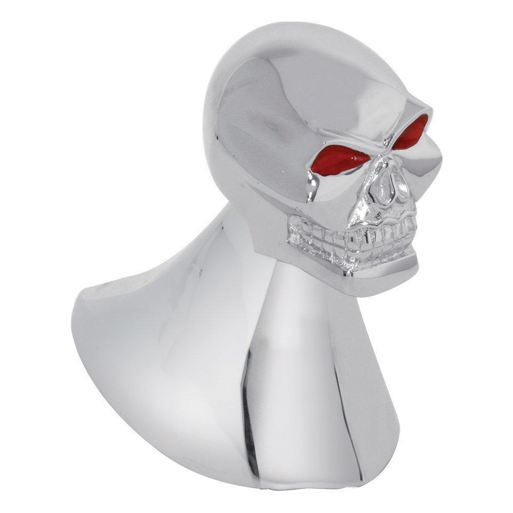Illuminated Chrome Skull Hood Ornament with Red Eyes