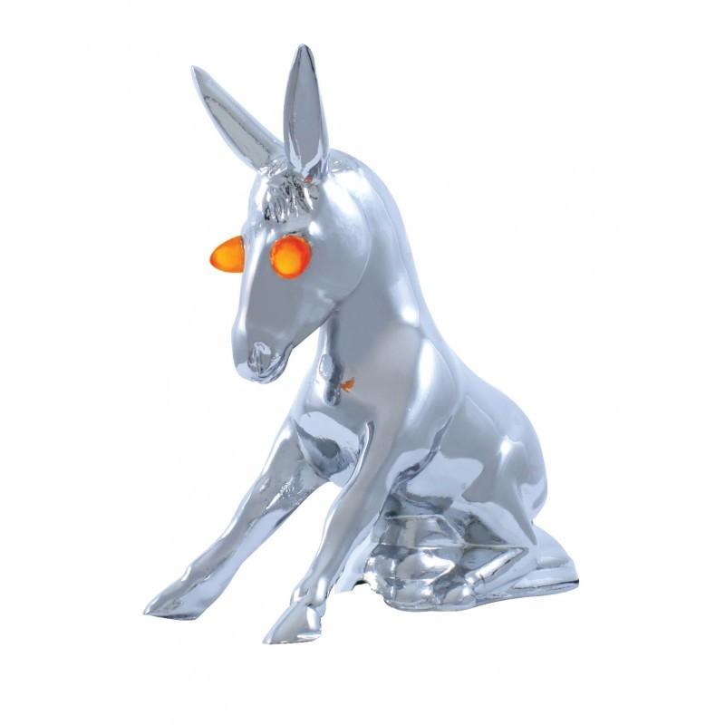 Chrome Novelty Hood Ornament Donkey with Illuminated Eyes