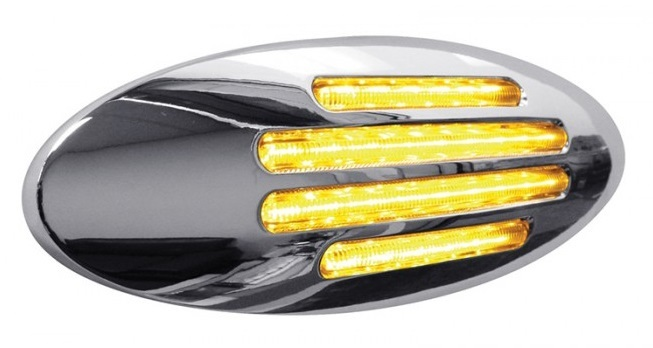 Clearance Marker Flatline LED in Red or Amber with Clear Lens
