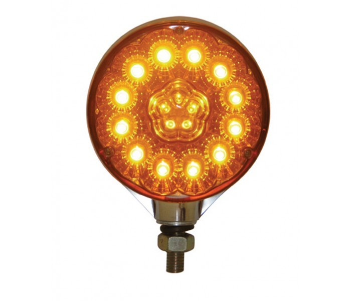 Super Diode Double Face Round LED Light in Amber/Red or Clear