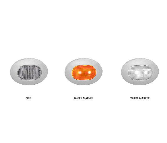 Mini Oval Button Dual Amber & White LED Marker Light