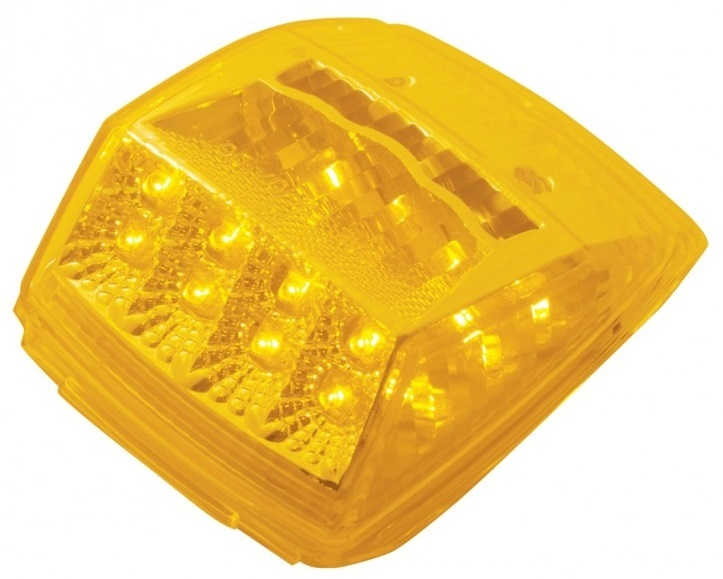 17 LED Square Reflector Cab Marker Light with Amber or Clear Lens