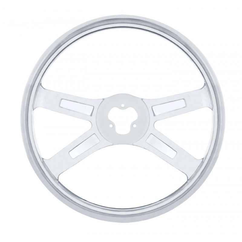 18 Inch Steering Wheel Highly Polished Mirror Stainless Steel 4 Spoke