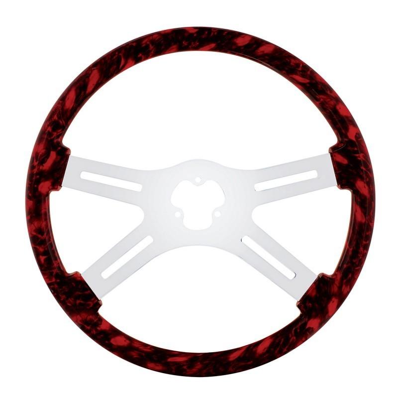18 Inch Skull Steering Wheel - Red