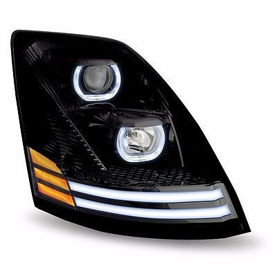 Volvo VNL 2004+ Projection Halogen Headlight DRL Turn Signal LED Black, Driver or Passenger Side