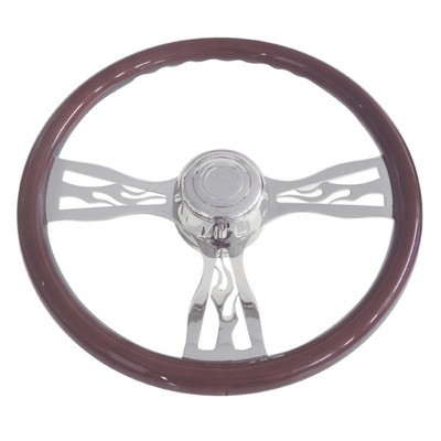 18 Inch Chrome Flame Steering Wheel for Peterbilt 98+ and Kenworth 01+