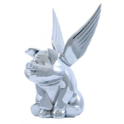 Chrome Sitting Pig with Wings Hood Ornament