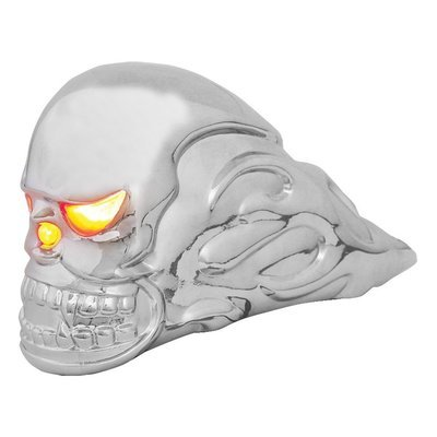 Illuminated Chrome Flamed Skull Hood Ornament with Amber Eyes