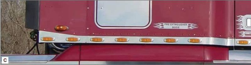 Stainless Sleeper Panels w/ LED Lights - Small Ext for Freightliner Century/Columbia
