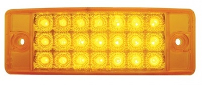 21 LED Rectangular Clearance Marker Light in Amber or Red with Amber/Red/Clear Lens
