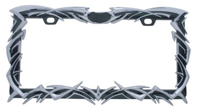 Black Tribal Flame License Frame with Chrome Accent