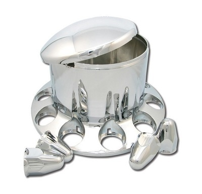 Chrome ABS Rear Hub Cover with Removeable Hubcap and Threaded Nut Covers