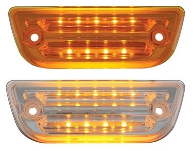 9 LED Rectangular Cab Light for Peterbilt 579 & Kenworth T680 with Amber LED and Amber or Clear Lens