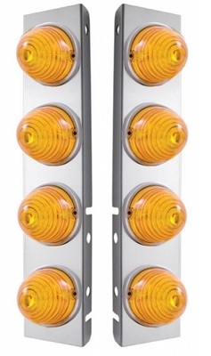 Peterbilt Front Air Cleaner Kit with 8 Beehive Amber LED Lights & Bezels