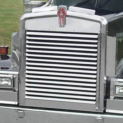 Horizontal Louver-Style Grille Extended Hood for Kenworth W900L