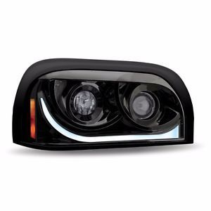 Black LED DRL Turning Projection Headlight- Driver or Passenger Side for Freightliner Century