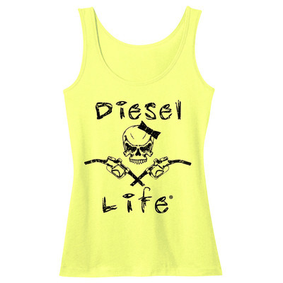 Diesel Life Women's Lady Skull & Pumps Tank - Neon Yellow with Black Imprint