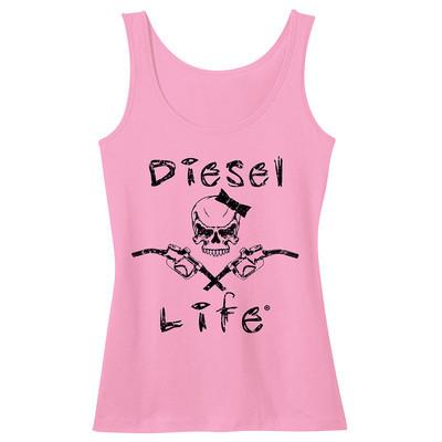Diesel Life Women's Lady Skull & Pumps Tank - Pink with Black Imprint