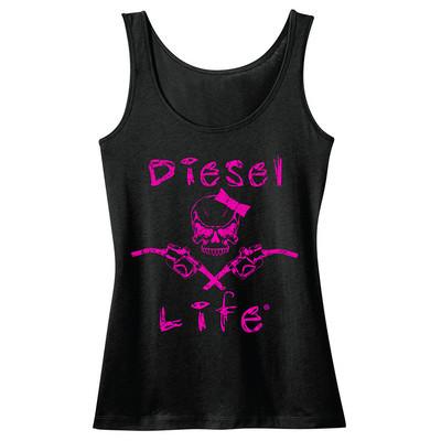 Diesel Life Women's Lady Skull & Pumps Tank - Black with Pink Imprint